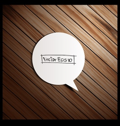 wooden background with speech bubbles paper stick vector image