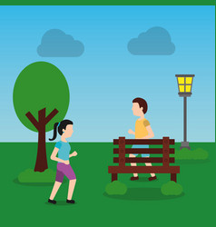 Young man and woman jogging in the park vector