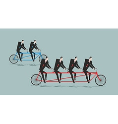 Business team on tandem long bike many managers vector