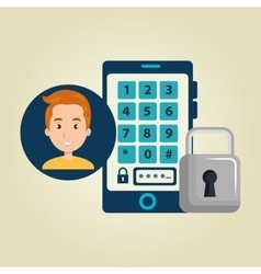 Man smartphone password vector