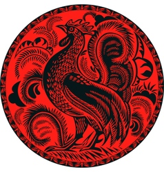 Rooster in a circle with pattern vector