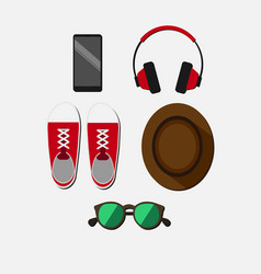 flat colorful young person items set vector image