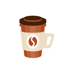Thermo plastic coffee cup with coffee bean logo vector