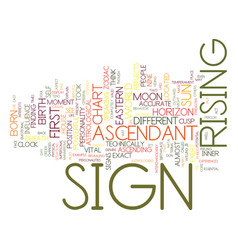 Ascendant sign text background word cloud concept vector