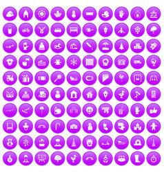 100 kindergarten icons set purple vector