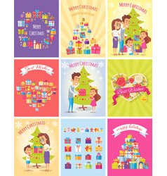 Gifts merry christmas cards presents trees vector