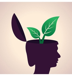 Thinking concept-Human head with leaf icon vector image