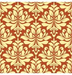 Orange and beige seamless damask pattern vector image