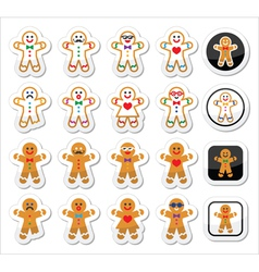 Gingerbread man christmas icons set vector