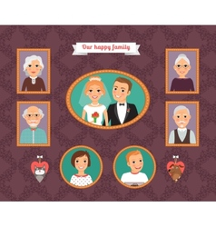 Family portrait wall with family photo frames vector