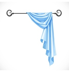 Blue drapery hanging on forged cornice isolated on vector