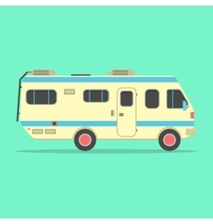 Yellow travel camper van isolated on green vector