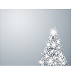 Christmas light snow fir tree vector image