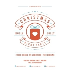 Christmas party poster retro typography and vector