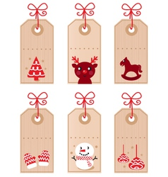 Cute christmas retro tags vector
