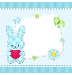 Blue bunny card vector image