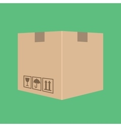 Delivery box package cardboard with green vector