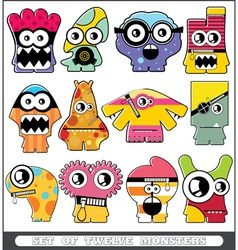 Set of twelve monsters vector image