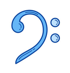bass clef line icon vector image vector image