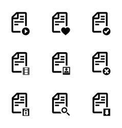 black documents icons set vector image