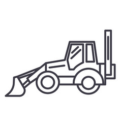 bulldozer line icon sign on vector image