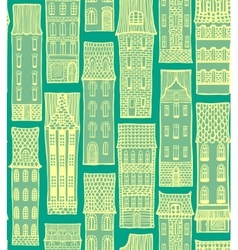 City hand-drawn background with cute houses vector