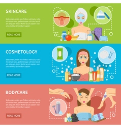 Cosmetology and spa procedures horizontal banners vector
