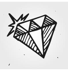 Diamond gemstone hand drawn vector
