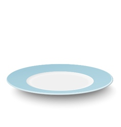 Empty light blue plate isolated on white vector image