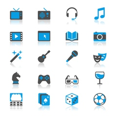Entertainment flat with reflection icons vector image vector image