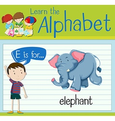Flashcard letter E is for elephant vector image vector image