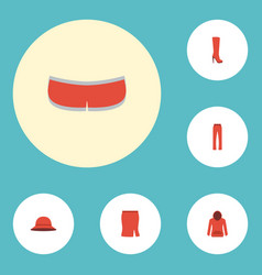 flat icons elegant headgear pants boots and vector image