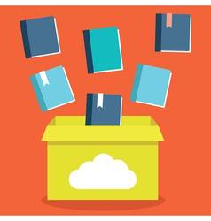 Flat of e-books storage in cloud vector