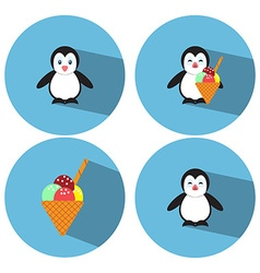Flat Penguin Ice Cream vector image