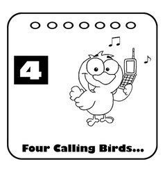 Four calling birds cartoon vector