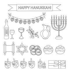 Hanukkah set line icons Chanukah line Icons with vector image