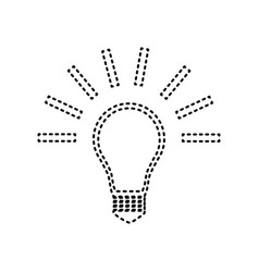 Light lamp sign black dashed icon on vector