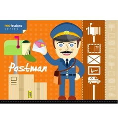 Male postman in uniform with bag holding letter vector