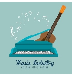 Music industry piano guitar and note musical vector