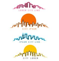 Neon city skyline building contours vector