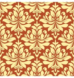 Orange and beige seamless damask pattern vector image vector image