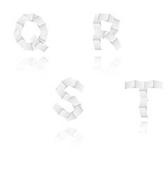 paper alphabet letters font Q R S T vector image vector image