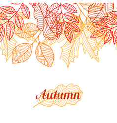 Seamless floral border with stylized autumn vector