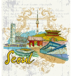 seoul doodles vector image vector image