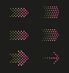 Set of arrows dots vector