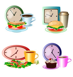 Set of lunch break foods clocks and drinks vector