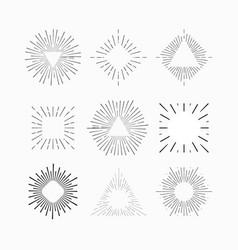 starburst hipster logo line art vector image