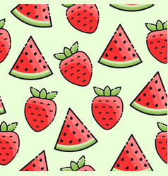 Strawberry watermelon seamless pattern vector