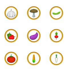 Vegetable icons set cartoon style vector