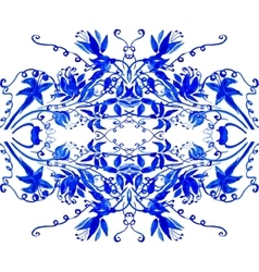 watercolor blue leaves ornament vector image vector image